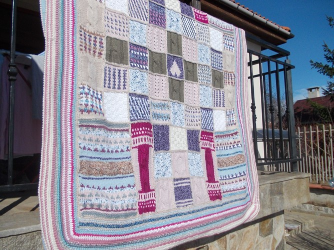 Knitted Patchwork Wool Handmade Blanket