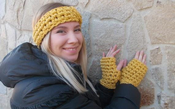 Knitted Crochet Chunky Yellow Cotton Set